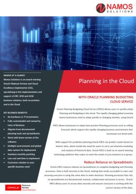 Planning in the Cloud with Oracle PBCS